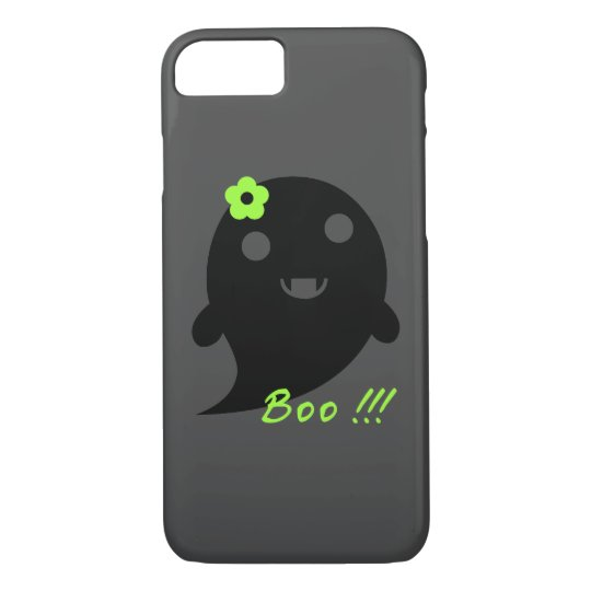 "Cute Ghost With Flower And Word ""Boo"" iPhone"