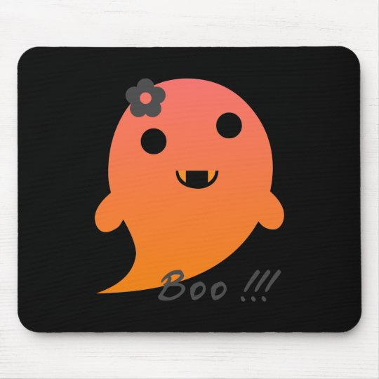 """Cute Ghost With Flower And Word """"Boo"""" Mouse"""