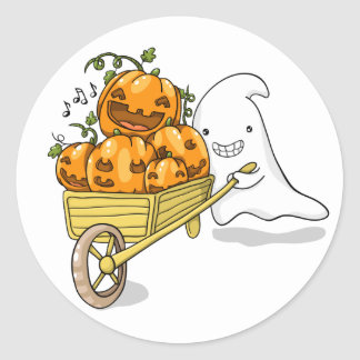 Cute ghost with wheelbarrow sticker