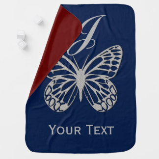Cute Giant Butterfly Monogrammed Blanket Receiving Blanket