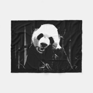 Cute Giant Panda Bear with tasty Bamboo Leaves Fleece Blanket