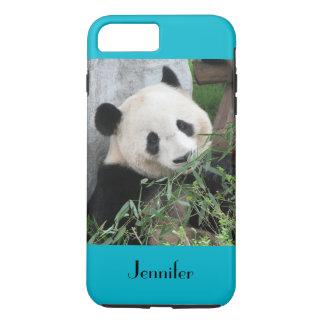 Cute Giant Panda, Blue Background, Custom Name iPhone 7 Plus Case