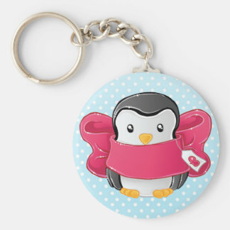 Cute gifted penguin basic round button key ring