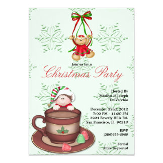 CUTE Ginger Bread Cookie Falling into Hot Coccoa C 13 Cm X 18 Cm Invitation Card