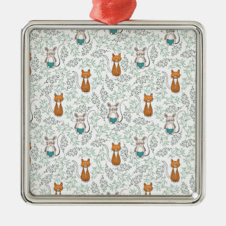 Cute Ginger Cat and Mouse Pattern Christmas Ornament