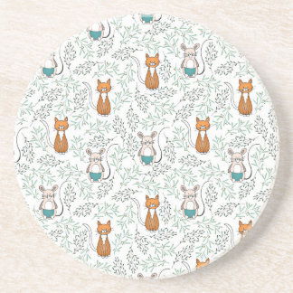 Cute Ginger Cat and Mouse Pattern Coaster