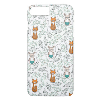 Cute Ginger Cat and Mouse Pattern iPhone 7 Plus Case