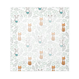 Cute Ginger Cat and Mouse Pattern Notepad