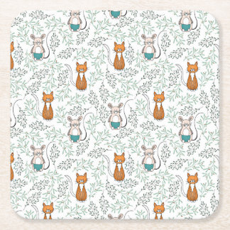 Cute Ginger Cat and Mouse Pattern Square Paper Coaster