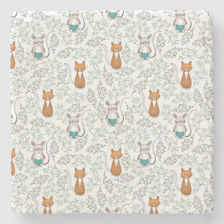 Cute Ginger Cat and Mouse Pattern Stone Coaster