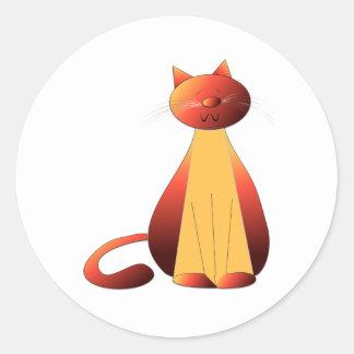 Cute Ginger Cat Art Classic Round Sticker