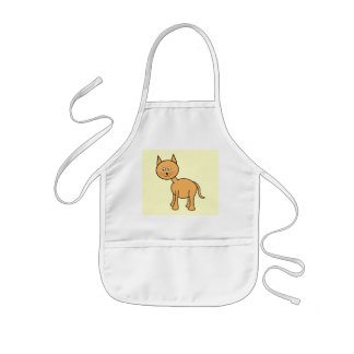 Cute Ginger Cat Cartoon. Cream Background. Kids Apron