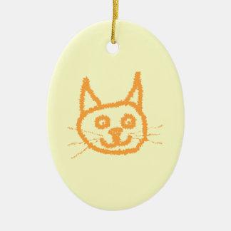 Cute ginger cat cartoon, on cream. ceramic oval decoration