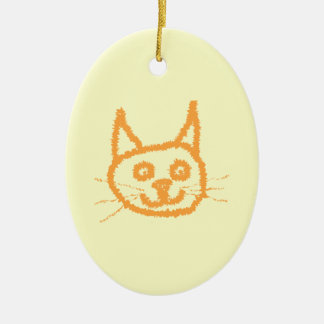 Cute ginger cat cartoon, on cream. christmas ornament