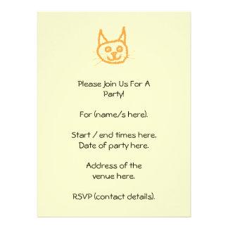 Cute ginger cat cartoon on cream custom invite