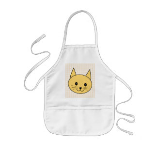 Cute Ginger Cat. Check background. Kids Apron