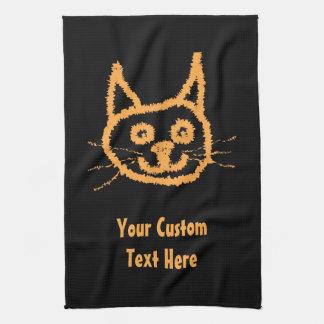 Cute Ginger Cat. Custom Text. Tea Towel