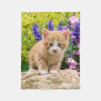 Cute Ginger Cat Kitten Flowery Garden  comfortable Fleece Blanket
