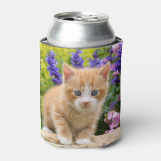Cute Ginger Cat Kitten in Flowers - Funny Bawdle Can Cooler