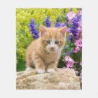 Cute Ginger Cat Kitten in Flowery Garden - comfy Fleece Blanket