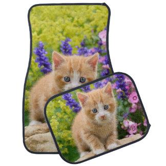 Cute Ginger Cat Kitten in Flowery Garden floor-mat Floor Mat