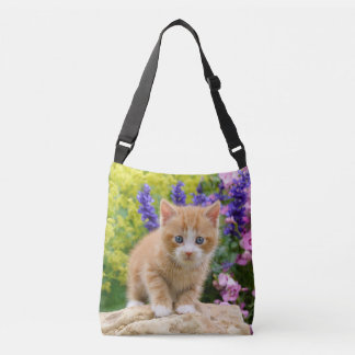 Cute Ginger Cat Kitten in Flowery Garden  Photo on Crossbody Bag