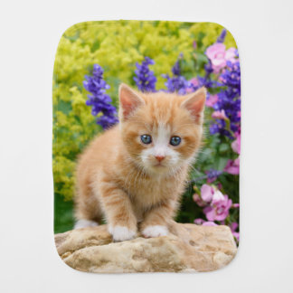 Cute Ginger Cat Kitten in Flowery Garden Portrait Burp Cloth