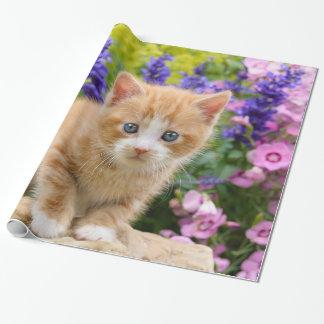 Cute Ginger Cat Kitten in Flowery Garden Portrait Wrapping Paper