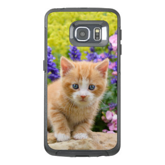 Cute Ginger Cat Kitten in Flowery Garden - protect