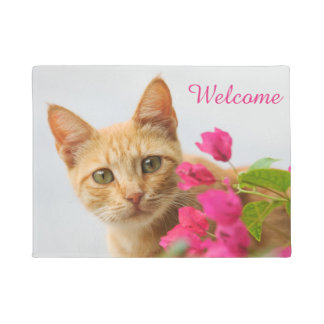 Cute Ginger Cat Kitten Photo  Personalized Welcome Doormat