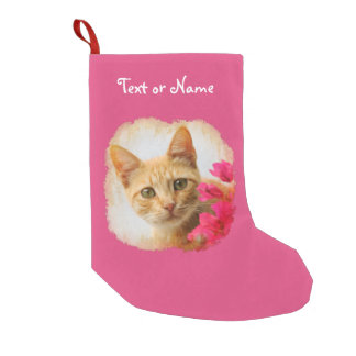 Cute Ginger Cat Kitten -Pink Personalized Santa Small Christmas Stocking