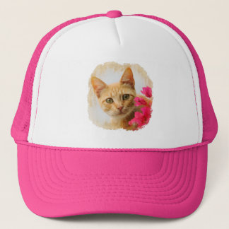 Cute Ginger Cat Kitten Watching Portrait Photo cap