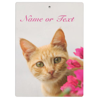 Cute Ginger Cat Kitten Watching You - Personalized Clipboard