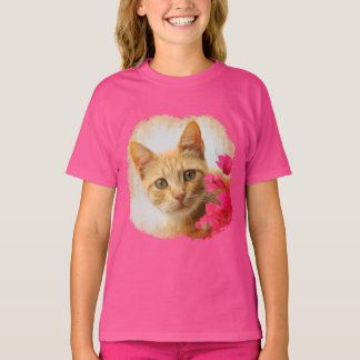 Cute Ginger Cat Kitten Watching You Photo - pink T-Shirt