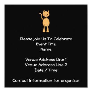Cute Ginger Cat. Orange Cat Cartoon. 13 Cm X 13 Cm Square Invitation Card
