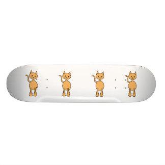 Cute Ginger Cat. Orange Cat Cartoon. Skate Board