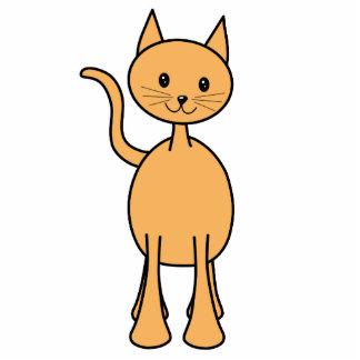Cute Ginger Cat. Orange Cat Cartoon. Standing Photo Sculpture