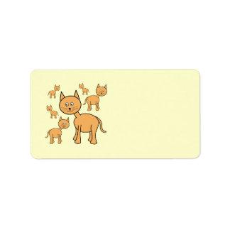 Cute Ginger Cats. Orange Cat Cartoon. Label