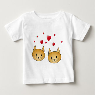 Cute Ginger cats. With Red Love Hearts. Baby T-Shirt