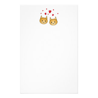 Cute Ginger cats. With Red Love Hearts. Customized Stationery