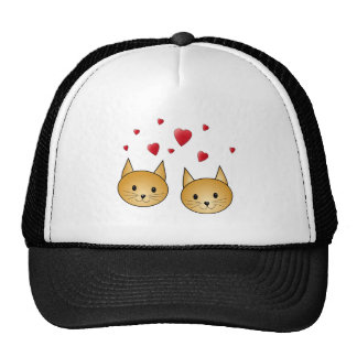 Cute Ginger cats With Red Love Hearts Trucker Hat