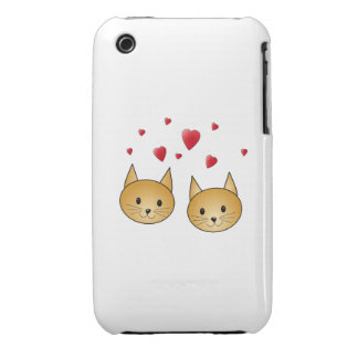 Cute Ginger cats. With Red Love Hearts. iPhone 3 Cover