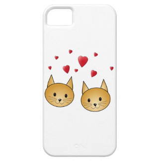 Cute Ginger cats. With Red Love Hearts. iPhone 5 Cases