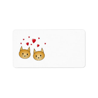 Cute Ginger cats. With Red Love Hearts. Label