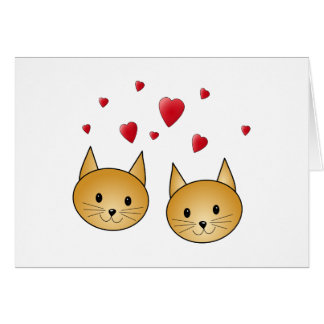 Cute Ginger cats. With Red Love Hearts. Note Card