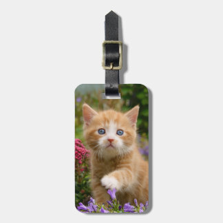 Cute ginger kitten in a garden luggage tag