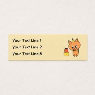 Cute Ginger Kitten Wearing a Birthday Hat. Mini Business Card