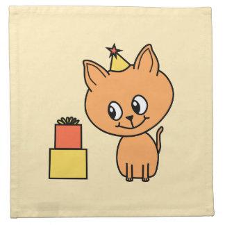 Cute Ginger Kitten Wearing a Birthday Hat. Napkin
