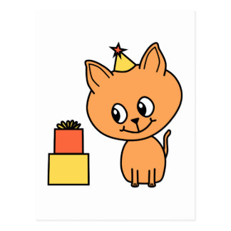 Cute Ginger Kitten Wearing a Birthday Hat Postcard