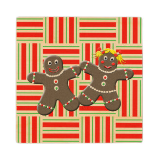 Cute Gingerbread Boy Girl Husband Wife Christmas Maple Wood Coaster
